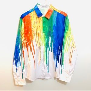 Paint Drip White Button Down Shirt Rainbow Large